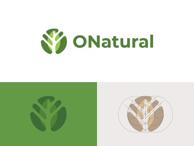 ONatural - Leaf Logo leaves leaf grid identity design mark logo dainogo branding golden ratio logo design