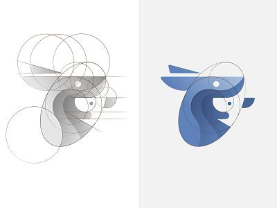 Kangaroo logo & grids kangaroo grids animal logo logo symbol golden ratio branding logo design