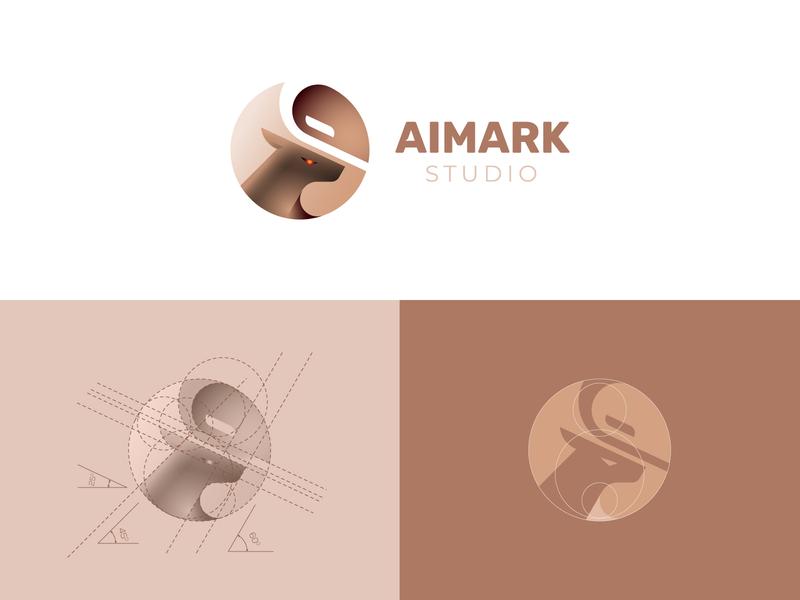 AIMARK - Deer logo and golden ratio grid nature grids golden ratio negative space creative design deer logo brand logo process logo grid identity branding symbol logo design aim mark animal logo deer