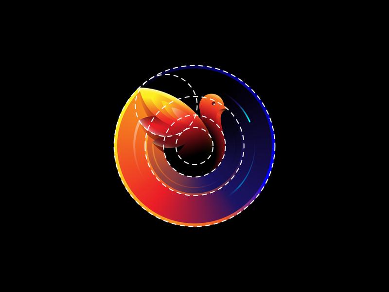 Flight Radar - Bird logo symbol mark bird design color gradients logo process logo grid identity branding bird logo bird radar flight golden ratio