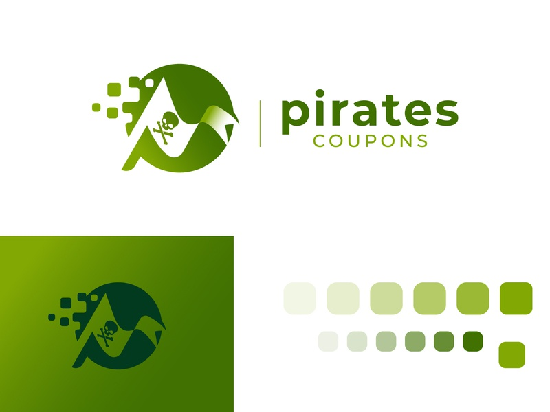 Pirates Coupons Logo Design p letter skull flag ocean sea icon green identity branding symbol mark logo logodesign pirate coupon pirates