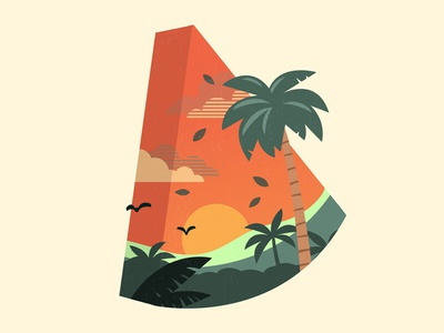 Slice of Life shape palm trees sunset watermelon summer tropical