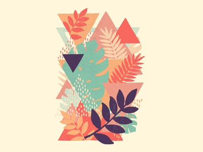Bermuda Triangles tshirt chill pastel colors tropical shapes geometric jungle leaves abstract floral