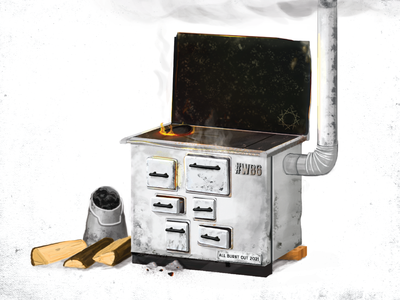 Old Stove illustration old heating wood efficient ecology stove realistic illustration