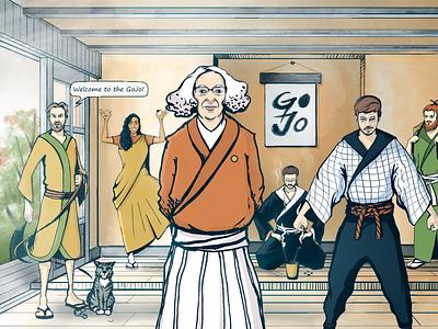 Characters for Massachusetts Go Foundation characters dojo go game manga illustration