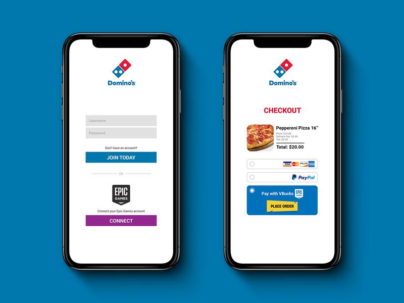Buying Pizza with VBucks by Matthew Hamilton on Dribbble