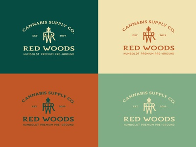 Red Woods Cannabis Lockup package design forest graphicdesign illustration label packaging logo design cannabis logo branding cannabis packaging cannabis branding brandidentity