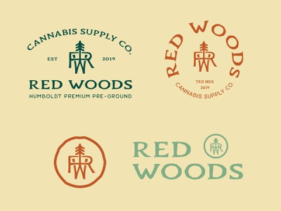 Red Woods Logo System Design branding illustration logo cannabis design logo design responsive design monogram logo tree logo rustic logo vintage design cannabis packaging cannabis branding brandidentity