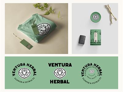 Ventura Herbal: Logo, Packaging and Merch Design mockups apparel design label design cannabis design vintage design package design illustration cannabis packaging branding cannabis logo cannabis branding brandidentity