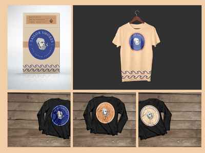 Packaging and Apparel Design for Sailor Smokes cannabis sailing sailor brand and identity package design illustration brandidentity label packaging cannabis design vintage design cannabis logo cannabis packaging cannabis branding apparel mockup apparel design