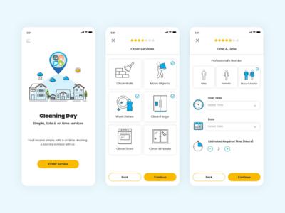 Simplistic UI Design design cleaning services app design application app minimal simplistic ui design ux ui