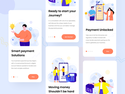 Currencycloud On-Boarding Screen money finance app screen financial payment web app ux typography on boarding onboarding ui uiux vector illustrations character design character flat illustration illustration