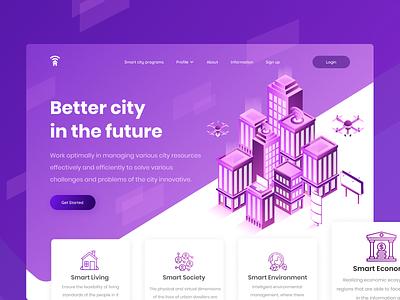 Smart City Isometric Header clean city smart city vector typography isometric illustration isometric website landingpage header uiux illustrations illustration