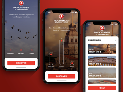 MoodFinder by Turkish Airlines iPhone X Design Concept mobile app flight experience travel iphone x airline turkish airlines turkish emotion mood
