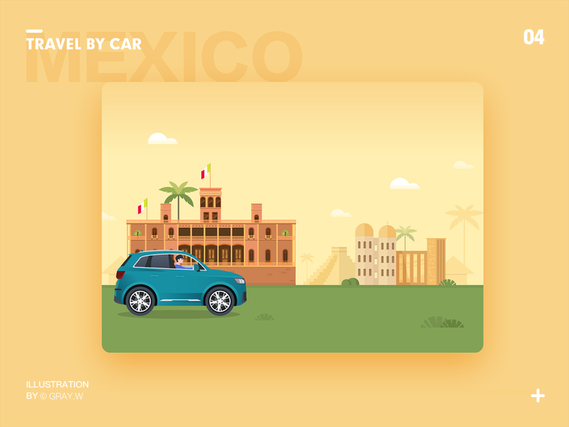 Travel by car illustration