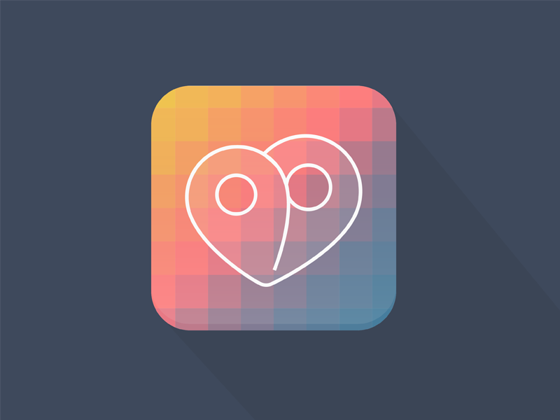 Firstep Logo shadow firstep project pins startup logo heart flat square icon gradient iphone