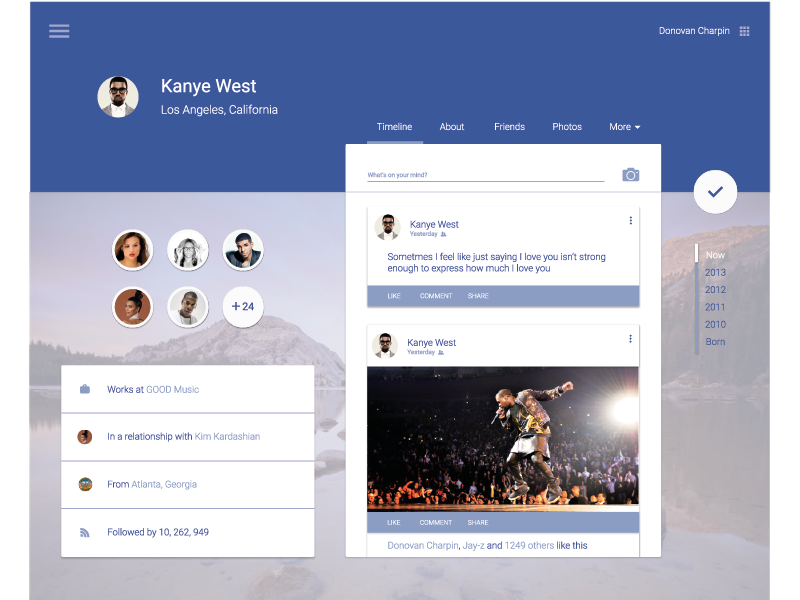 Facebook Material Design ui profile google redesign facebook design material material design flat web website page