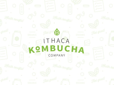Ithaca Kombucha Co. ithaca pattern kombucha leaf logo brand design brand iconography pattern design logo design