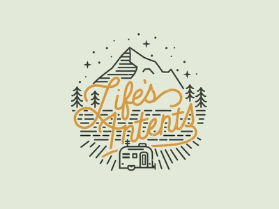 Lifes Intents Logo intentional living pines badge outdoors mountain airstream rv logo brand design brand iconography logo design