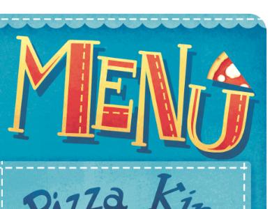 Menù menù pizza lettering
