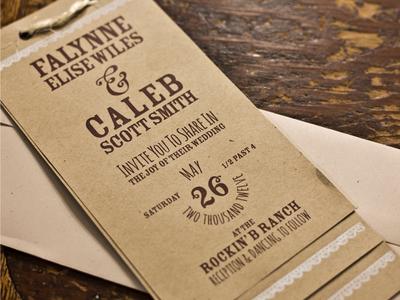 Wedding Invitation - Falynne & Caleb wedding invitation typography rustic