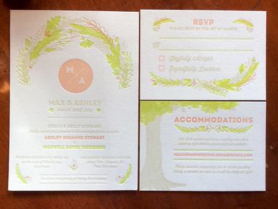 Wedding Invitation Suite - Max & Ashley wedding invitation typography letterpress hand drawn illustration