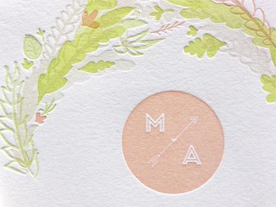 Wedding Invitation Detail - Max & Ashley wedding invitation typography letterpress hand drawn illustration