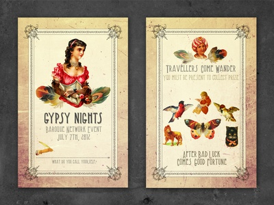 Gypsy Nights Event Card gypsy event card vintage texture typography print
