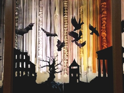 Window Dressing - The Dead Lands Installation ruins tree silhouette paint fabric textiles cut paper installation window display