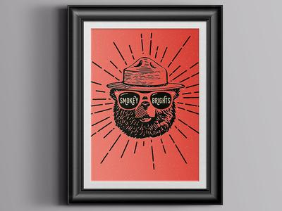 Smokey Brights Poster handdrawn sunglasses red smokey bear illustration band music poster