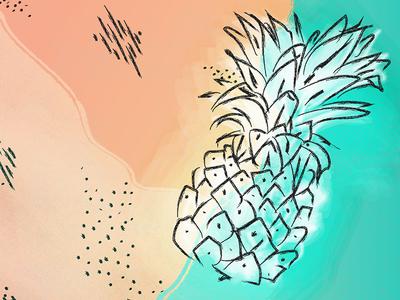 pineapple 🍍 vibes hand-drawn summer vibes illustration pineapple