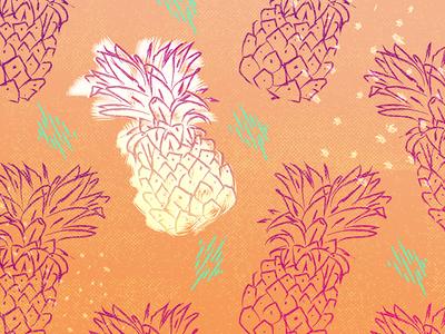 pineapples for days desktop background pattern hand-drawn summer vibes illustration pineapple