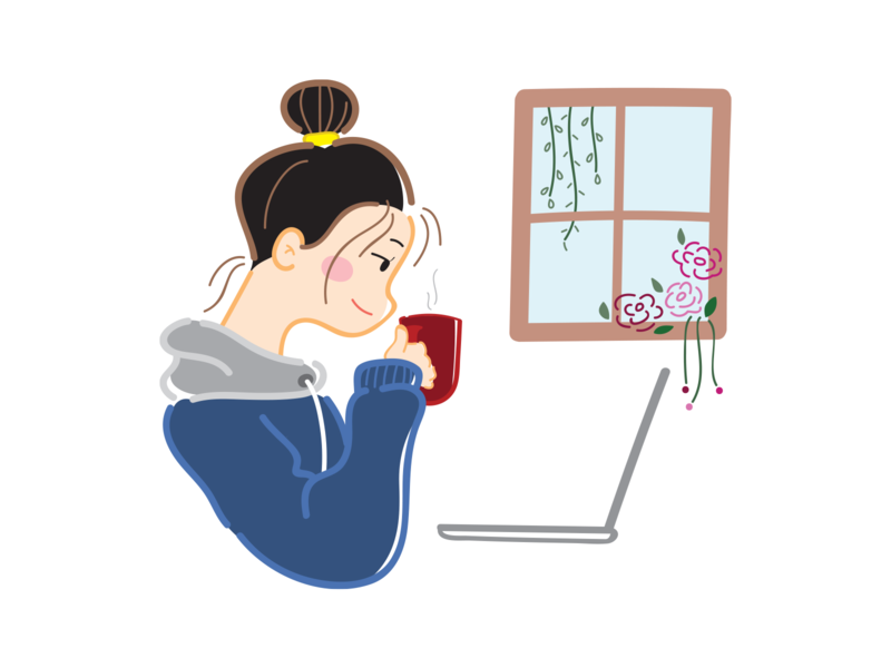 #StayHome stay home house home laptop warm coffee girl character girl illustration girl character design character flat design flat vector design illustration