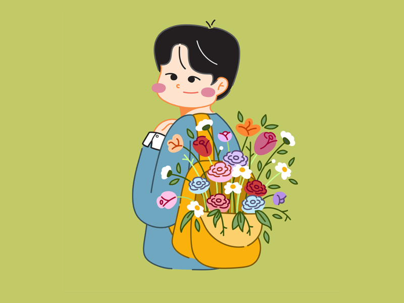 About Spring: Youngso doodle doodle art brother son teenage young hoppipolla fanart digital illustration digital art bag spring kim youngso flat design flat boy illustration character design character