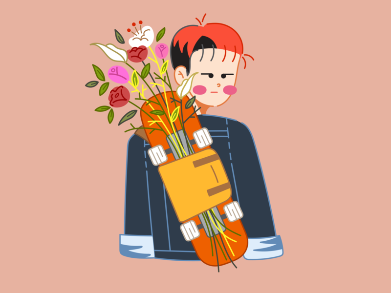 About Spring: Hyunsang skateboard digital art young youth ha hyunsang hoppipolla teenage spring son art flat boy doodle art doodle design vector flat design illustration character design character