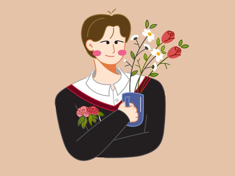 About Spring: Jinho spring flowers man hong jinho hoppipolla design doodle art doodle vector flat design illustration character design character