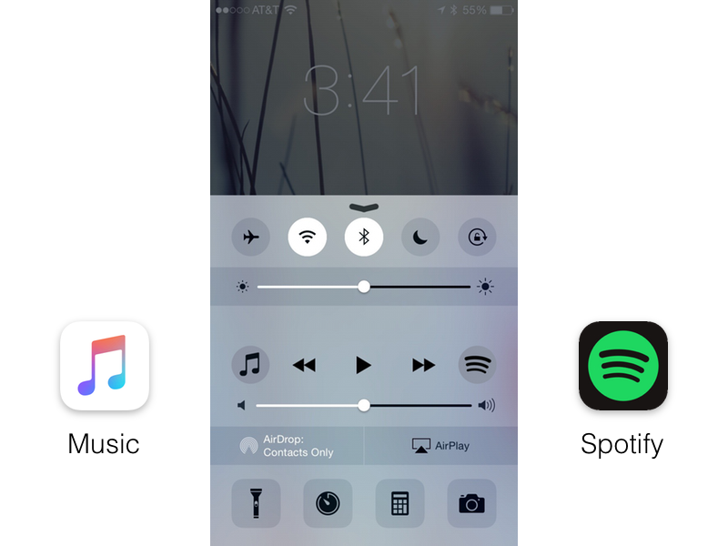 Music via Control Center by Tim Caffin on Dribbble