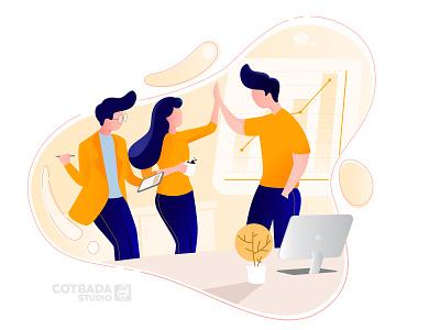 Create a Team flat illustration vector ui illustration design