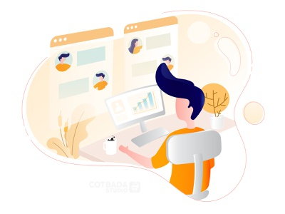 Collaboration with the Team flat vector ux ui flat illustration design