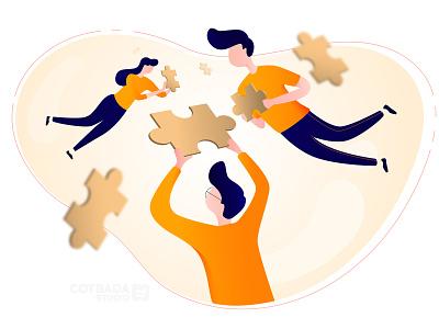 Teamwork Illustration ui ux animation app branding vector flat flat illustration design