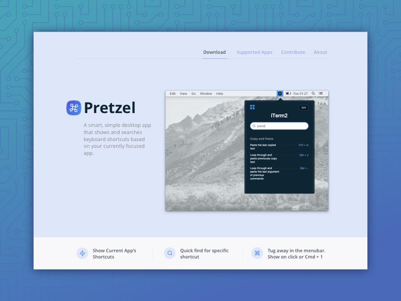 Pretzel v0.6.0 - smart shortcut finder hotkeys shortcut menubar pretzel app mac