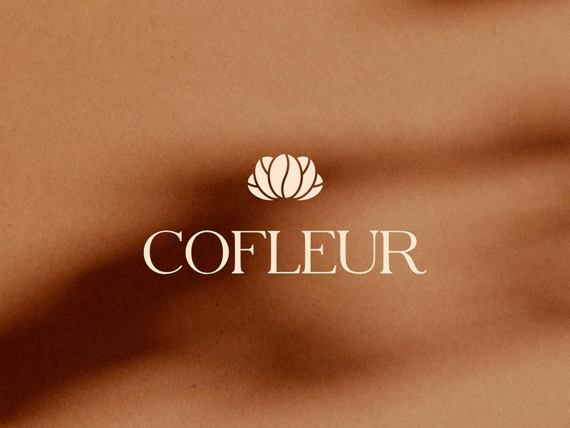 Coffleur - Coffee & Flower Shop logomark logo minimalist logo minimal coffee wordmark logotype branding serif flower coffee beans