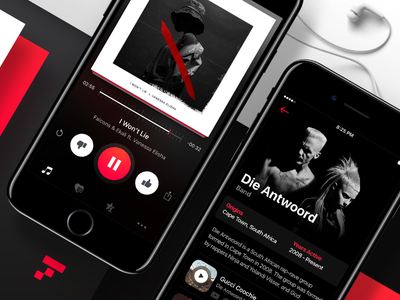 Music Recommendations discovery cards clean boris ios ui application recommendation music dark interface app