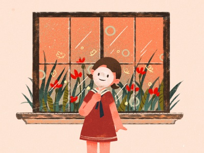 Give me a smile 设计 插图 girl design illustration