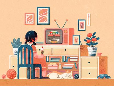 The old days cat girl 设计 插图 design illustration