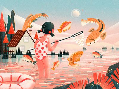 Summer 设计 插图 summer fish girl design illustration