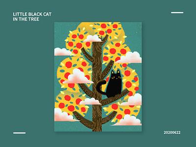 Little black cat in the tree tree cat design illustration