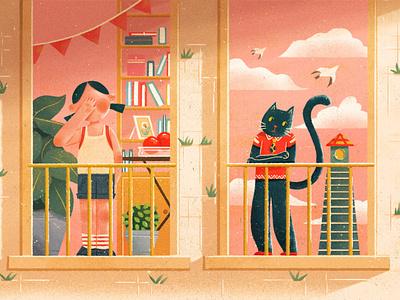 Sunshine 设计 插图 cat girl design illustration