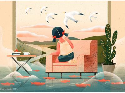 After the rain girl design illustration