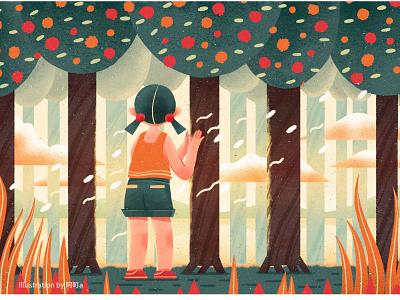 The Grove tree girl design illustration